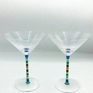 Set of 2 Colorful Stripes Martini Glasses